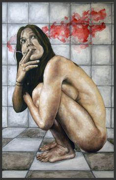 El humo rojo. 2015. huile et acrylique sur panneau. 125 x 80 cm