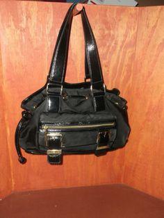 MICHAEL KORS Black Nylon & Leather Drawstring Satchel Handbag