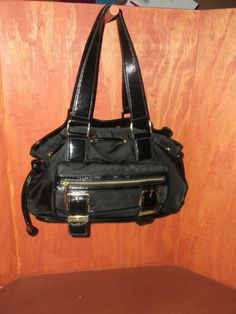 MICHAEL KORS Black Nylon & Leather Drawstring Satchel Handbag