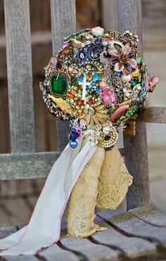 brooch wedding bouquet by design me vintage