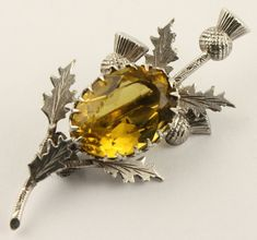 Antique Victorian silver Scottish agate, citrine, and thistle brooch - c1890