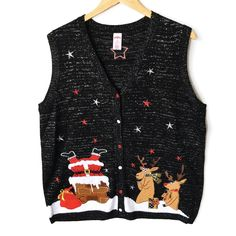 Santa's Stuck in the Chimney Tacky Ugly Christmas Sweater Vest