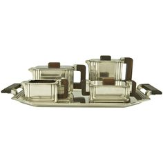 5 Piece Art Deco Tea and Coffee Set by Argental | From a unique collection of antique and modern tea sets at http://www.1stdibs.com/furniture/dining-entertaining/tea-sets/