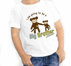 Big Brother Shirts two Monkeys I am going to be a Big Brother t shirt anouncement via Etsy