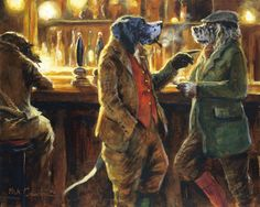 Funny English Pointer Dog, fine art print by Mick Cawston. Get the Point ie.picclick.com