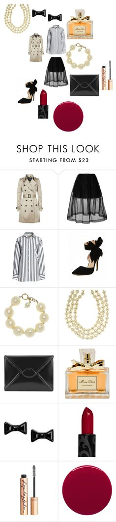 """1940's detective film noir"" by alisafranklin on Polyvore featuring Burberry, Simone Rocha, Canvas by Lands' End, Chanel, Lulu Guinness, Christian Dior, Marc by Marc Jacobs, Charlotte Tilbury and Smith & Cult"