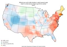 regional differences in vocab and pronunciation in 22 U.S. maps, e.g. traffic circle vs roundabout, soda vs pop, caramel...