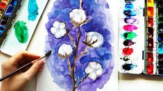 DIY Watercolor Cotton Flower on Purple Background - DIY Winter Illustration For Wall Decor Winter Illustration, Watercolor Illustration, Diy Artwork, Artwork Drawings, Watercolor Flowers, Watercolor Paintings, Background Diy, Plant Art, Purple Backgrounds