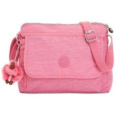 Kipling Aisling Crossbody (700 EGP) ❤ liked on Polyvore featuring bags, handbags, shoulder bags, pink macaroons, nylon handbags, pink handbags, crossbody purse, nylon cross body handbags and pocket purse