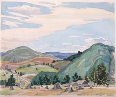 Untitled (Ontario Farm Scene), Franklin Carmichael, watercolor on paper, Art Gallery of Greater Victoria. Tom Thomson, Emily Carr, Canadian Painters, Canadian Artists, Painter Artist, Artist Painting, Franklin Carmichael, Group Of Seven Paintings, Jackson