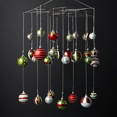 Shop Ornament/Photo Chandelier.  The traditional ornament tree becomes a chandelier in our new approach to displaying ornaments, holiday cards or photographs.