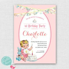 Vintage Babys First Birthday printable invitation for girl via Etsy