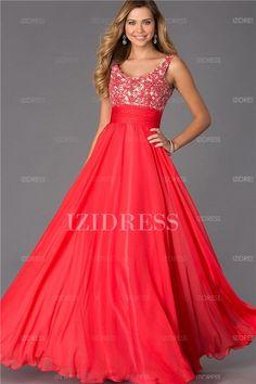 A-Line/Princess Scoop Floor-length Chiffon Prom Dress