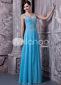Blue Chiffon Beading Floor Length Prom Dress. Classic, timeless styles never go out of fashion and can create a lasting impression, regardless of occasion. This lovely dress features a intricately beaded bodice and straps, sweetheart neckline and sultry exposed back. .. . See More Colorful Prom at http://www.ourgreatshop.com/Colorful-Prom-C945.aspx