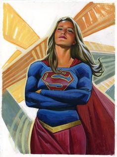 Supergirl Watercolor and Prismacolor Painting Supergirl Comic, Melissa Supergirl, Kara Danvers Supergirl, Supergirl Characters, Batwoman, Batgirl, Captain Marvel, Marvel Dc, Disney Marvel