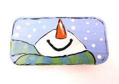 Painted Tin Snowman Gift Box.  Perfect for Buttons or Small items. Stocking Stuffer Packaging. on Etsy, $3.99