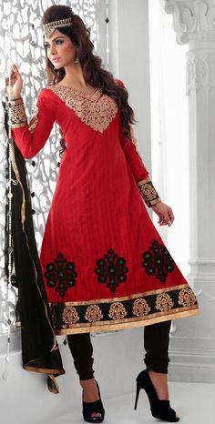 Red Thread Work Faux Georgette Anarkali Salwar Suit 26202 50