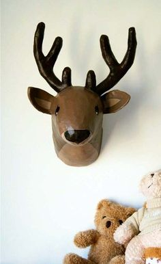 Paper mache taxidermy wall art.  @Sherry @ Young House Love this made me think of you.