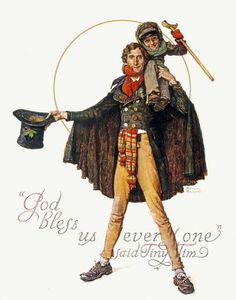 Tiny Tim and Bob Cratchit, this Norman Rockwell painting, appeared on the cover of The Saturday Evening Post published December 15, 1934.