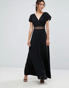New Look Crochet Waist Maxi Dress - Black