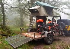 Nice elevated rack multi-purpose camping trailer setup with plenty of room below. Motorcycle Camper Trailer, Utility Trailer Camper, Enclosed Trailer Camper, Off Road Camper Trailer, Car Trailer, Camper Trailers, Teardrop Trailer, Expedition Trailer, Overland Trailer