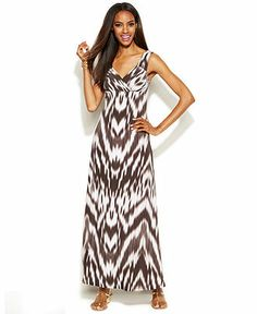 INC International Concepts Printed Empire-Waist Maxi Dress - Dresses - Women - Macy's
