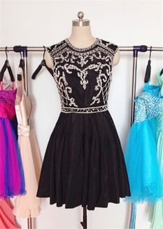 Black Homecoming Dress,Short Prom Gown,Chiffon Homecoming Gowns,Elegant A Line Beading Party Dress,Short Prom Dresses