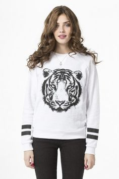 White textured raglan sweatshirt with tiger - Clothing