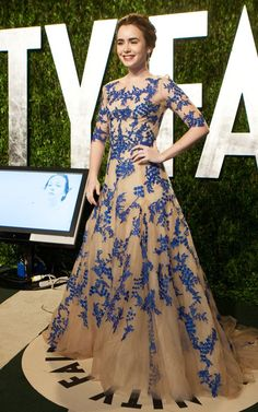 Maybe a bit much, but I'm okay with that because it really is such a gorgeous gown.  #LilyCollins #VanityFair #Oscars