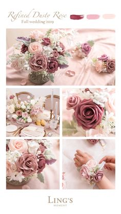 Dusty Rose Inspired Fall Wedding Palette – Real Touch Rose Colors First Order – Wedding Centerpieces Dusty Rose Wedding, Floral Wedding, Fall Wedding, Wedding Bouquets, Wedding Flowers, Dream Wedding, Wedding Favors, Pale Pink Weddings, Rose Flowers