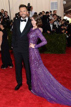 Joel McHale and Alison Brie in Prabal Gurung dress & Louboutin shoes at 2015 Met Gala held at the Metropolitan Museum of Art in New York City (4-5-15) Monday.