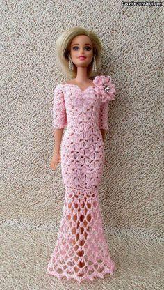 Irresistible Crochet a Doll Ideas. Radiant Crochet a Doll Ideas. Crochet Barbie Patterns, Crochet Doll Dress, Barbie Clothes Patterns, Crochet Barbie Clothes, Doll Clothes Barbie, Dress Patterns, Barbie Gowns, Barbie Dress, Habit Barbie