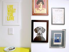 I like the dog print mixed with word print in bright yellow...nice idea