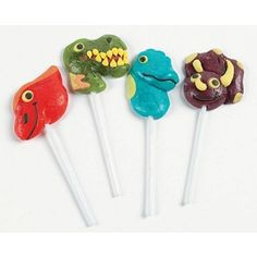 How cute are these dinosaur suckers / lolipops?! Perfect for a dinosaur birthday party! Found in Kara's Party Ideas Shop- www.KarasPartyIdeas.com/shop