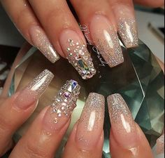 78 Most Gorgeous and Eye-Catching 😍 Long Nails Design (Acrylic Nails, Matte Nails) You May Love 💋 - Page 2 of 80 - Diaror Diary French Nails Glitter, Fancy Nails, Bling Nails, Trendy Nails, Glitter Nails, Sparkle Nails, Sparkles Glitter, Silver Glitter, Bling Bling