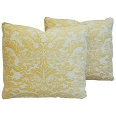 Italian Mariano Fortuny Corone Crown Pillows- A Pair ($799) ❤ liked on Polyvore featuring home, home decor, throw pillows, pillows, yellow throw pillows, yellow accent pillows, cream colored throw pillows, cream throw pillows and crown throw pillow