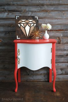 painted furniture coral white funky side table, diy, painted furniture, painting, repurposing upcycling  hometalk