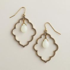 One of my favorite discoveries at WorldMarket.com: Gold and Mint Scalloped Drop Earrings