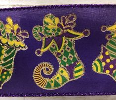 """Excited to share this item from my #etsy shop: Mardi Gras Purple Emerald and Gold stockings Ribbon, Mardi Gras ribbon, Purple Gold Green wired ribbon, 2.5"""" mardi gras ribbon, X940140-11 #gold #purple #waysidewhimsy #wiredribbon Wired Ribbon, Purple Gold, Mardi Gras, Emerald, Stockings, Kids Rugs, Etsy Shop, Green, Carnival"""