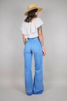bf38c3a6291 vtg 70 s flared HIGH WAIST bell bottom JEANS     noirohio vintage Wide Leg  Jeans