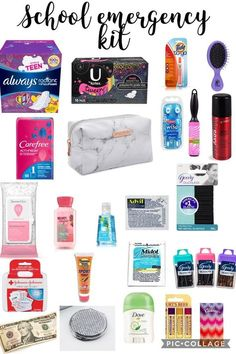 Back to school emergency kit for girls. School supplies tip for keeping in their locker or gym bag.This is for girls NOT BOYS tell me if a boy does try this. Back To School Tips For Middle SchoolThis is for girls NOT BOYS tell me if a boy does try thisA L Middle School Hacks, Middle School Supplies, High School Hacks, School Kit, Life Hacks For School, Diy School Supplies, School Supplies Highschool, Back To School Highschool, Highschool Survival Kit