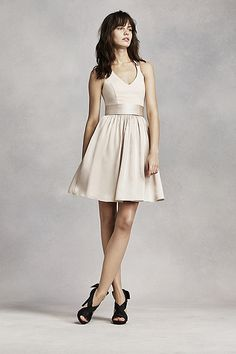 5fc1f7a48729 White by Vera Wang NEW! - Short Halter V-Neck Dress with Sash Style
