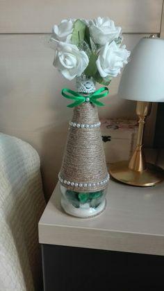 Botella decorada #botelladecorada #vintage #bottleart #vintage #botellascuerda