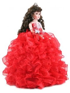 Red Ruffle Dress Quinceanera Doll - Quinceanera Style