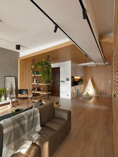 Explorer: Inviting apartment in Taiwan with open-space interior and plenty of spaces for the kids to play - by Awork Design Studio Modern Architecture Design, Interior Architecture, Modern Design, Design Studio, House Design, Family Apartment, Apartment Interior, Grey Feature Wall, Interiores Design