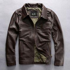 2017 dark brown genuine leather jacket men turn down collar real cowskin solid wind jacket male casual zipper leather coat men #Affiliate