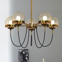 chandelier ideas for dining room or over a ktichen island: Dexter glass orb 5 head chandelier