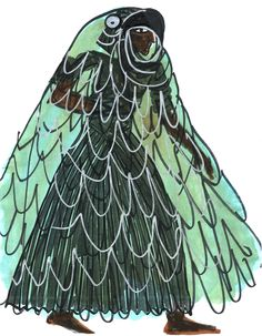 King Ramfis in Bird Cloak. Sketch by Zandra Rhodes.