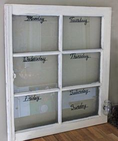 Dry Erase Calendar  Window  Weekly by CricketStudioArtwork on Etsy, $98.00  I bet I could do this myself!!!!!