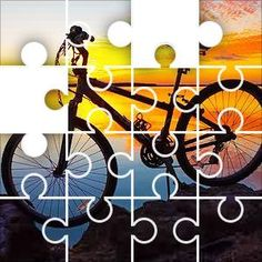 Sunset Biking Jigsaw Puzzle, 100 Piece Classic. Bicycle silhouette on the rocks by a calm sea at sunset, red